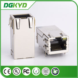 China 1 x 1 Shielded 16 Pin 1000BASE cat 6A POE RJ45 Modular Jacks with internal transformer   33.0mm factory