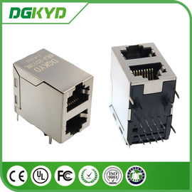 China Lan Wifi 1x2 Port Stacked RJ45 Female Connector KRJ-2013NL For 10/100base-T/TX Applications supplier