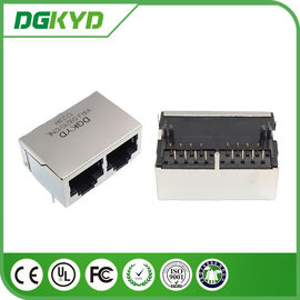China 90 Degree Side Entry 2 Port RJ45 Modular Jack Without Transformer ,Tap down 21.3mm supplier