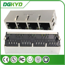 China 4 Port magnetics RJ45 Connector modules with isolation transformer, LED supplier