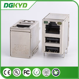 China Gigabit ethernet RJ45 Jack stacked with Double USB port for industial application supplier