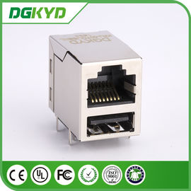 China Single port Integrated magnetic rj45 USB jack  with 10/100base transformer supplier