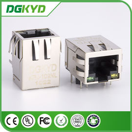 China Integrated Magnetic RJ45 Network Connectors , RJ45 Network Port W / LED factory