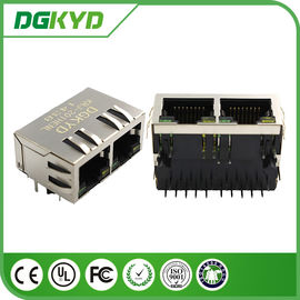 China Tab Down 1*2 Double Port 10 Pin rj45 connector for cat6 with Transformer supplier