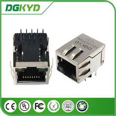 Tap down Single Port 1000BASE rj45 10 pin connector , rj45 modular connector with led