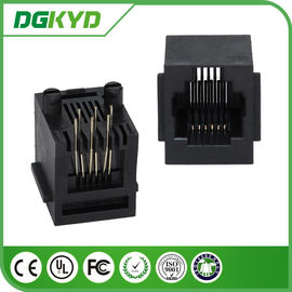 China PBT Black 6p6c 180 Degree RJ11 Jack with brim / RJ11 Modular Jack supplier