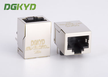 China Metal shielded single port 8P8C RJ45 Modular jack with led and EMI Fingers J0011D21BNL Used factory