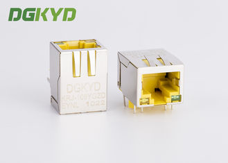 China 10 / 100 baseT RJ45 PCB connector with LAN Filter for Adsl, yellow housing supplier