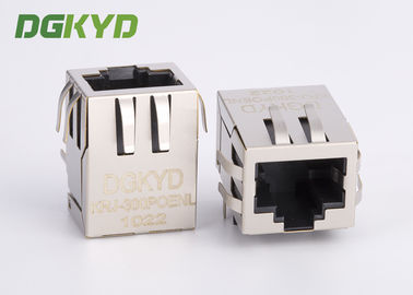 China Single Port 10/100 BASE-T female Connector RJ45 with Integrated Magnetics, POE supplier
