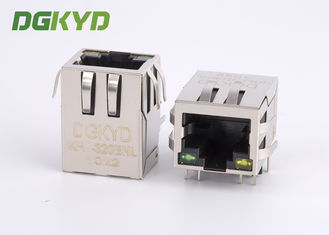 Metal shield right angle 1000 base RJ45 modular jack with magnetic transformer