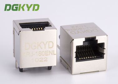 China 180 Degree Vertical Entry 10/100 Base Magnetic RJ45 Connector Module Shielded supplier