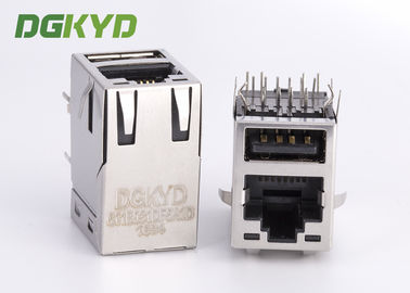 China Cat5e stacked RJ45 OVER USB W/ LED G/Y, 100 BASE T transformer, 6-1775855-3 supplier