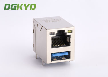 China Gigabit Modular Jack RJ45 Stacked Over USB Rj45 Connector 3.0 X1F Cat6 W/ LED 1775855-3 supplier