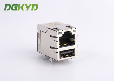China Industrial dual deck USB rj45 connector cat 5e rj45 connector with USB , G/Y LED supplier