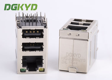 China Cat3 RJ45 Connector stack over dual USB 2.0 A type with Y/G Led supplier