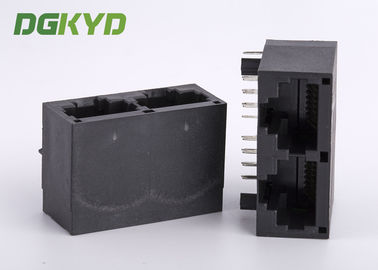 China Ganged dual port RJ45 modular jack CAT6 rj45 gigabit connector module supplier