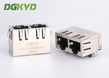 China Tab down ganged double port magnetic modular jack cat5e rj45 keystone connector factory