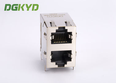 China 2x1 Modular jack stack dual Port RJ45 Magnetics 100Mb Ethernet Connector factory