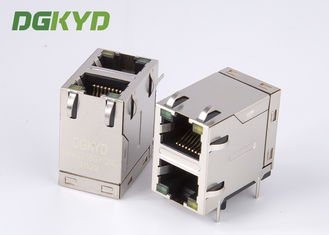 China Stack two port 10 Pin 1000 BASE RJ45 Jack Female Ethernet Connector with LED EMI supplier