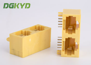 KRJ-56S1X2WDWKNL Side Entry yellow plastic housing 2 Port RJ45 network jack