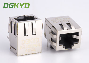 China 90 degree 10 / 100 Base -TX RJ45 jack Integrated Magnetics ethernet connector factory