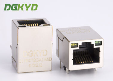 China Metal Shielded 100MB RJ45 integrated magnetics connector module with POE Single Port Tap Up supplier