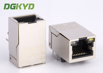 China Shield single port tab up gige cat6 rj45 modular jack with magnetics Made in China supplier
