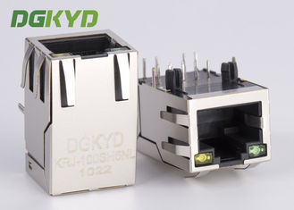 China 1x1 single port RJ45 Ethernet Connector 100Mb cat 5 manetic modular jack G/Y led supplier