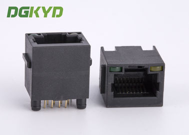 China Top Entry 8p8c CAT5 RJ45 Single Port Connector With Black Plastic Housing supplier