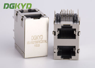China Shield right Angle 2 x 1 dual Port RJ45 Ethernet Connector, 10/100/1000 BASE-TX supplier