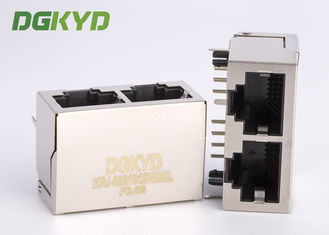 China 10/100/1000 BASE-TX 1X2 double port rj45 ethernet connector without transformer supplier
