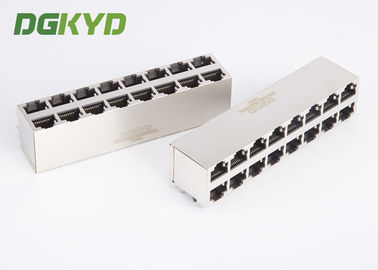 China Shield 2X8 Port Stacked RJ45 Multiple Port Connectors Combo Dual Deck 16 Ports Ethernet Scoket supplier