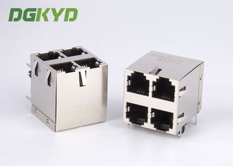 China Right Angle PCB Mount Cat 3 2x2 Dual Deck 6p4c RJ11 Jack 4 Ports supplier