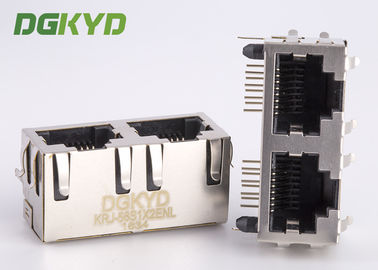 China Right angle PCB mount dual port combo RJ45 connector ethernet modular jack supplier