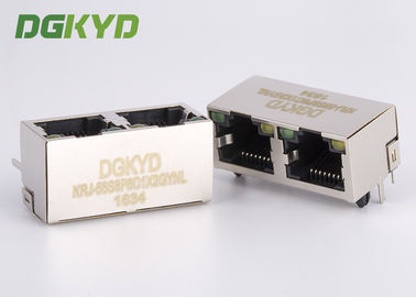 China 90 degree side entry 1x 2 Port ethernet socket RJ45 female Jack 10/100/1000 Base-Tx supplier