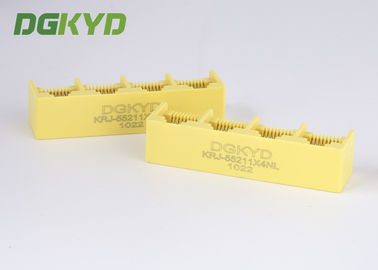 China Yellow plastic housing 1X4 Multi Port RJ45 connectors ethernet female socket supplier