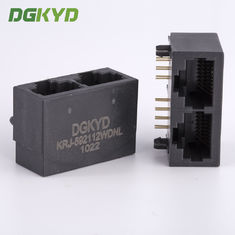 China 21.3mm Side Entry Tap Down 2 Port RJ45 Modular Jack Without Transformer supplier