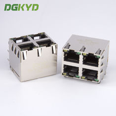 China Shield Dual Deck 2x2 Rj45 Lan Modular Jack Four Ports Network Switch Connector supplier