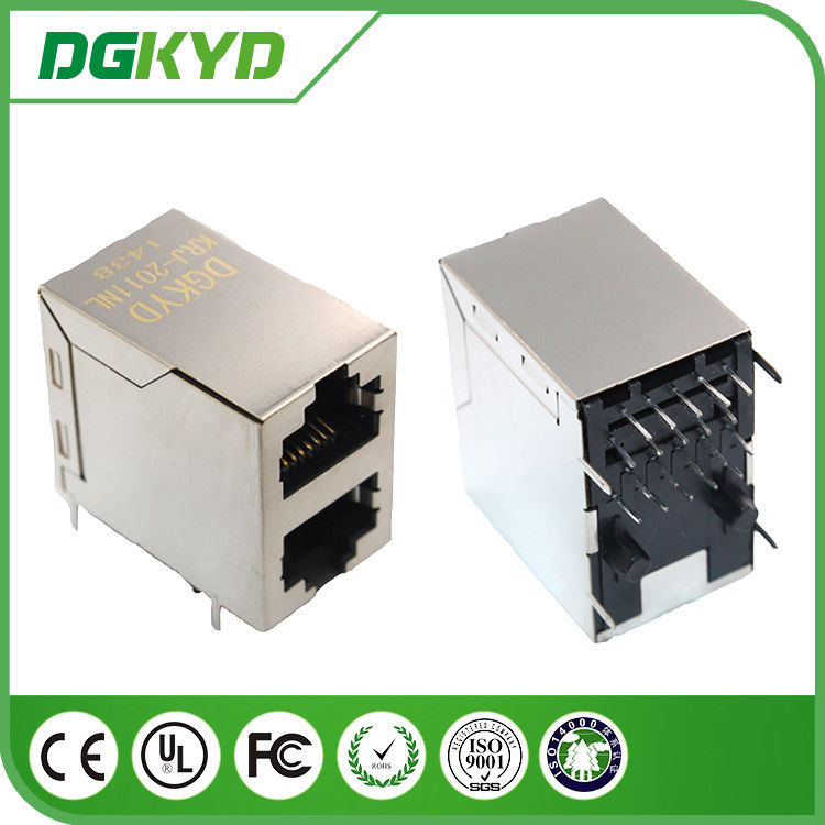 KRJ - 2011NL 2x1 stacked dual port rj45 connector 10P8C gigabit ethernet supplier