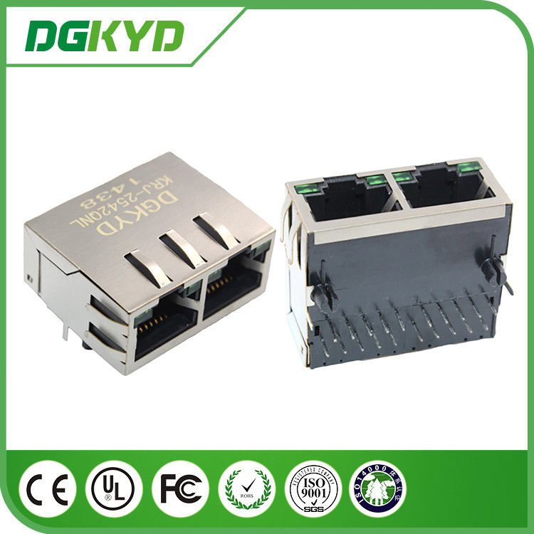 1 X 2 Port Gigabit Ethernet RJ45 Integrated Magnetic Connector with LED supplier