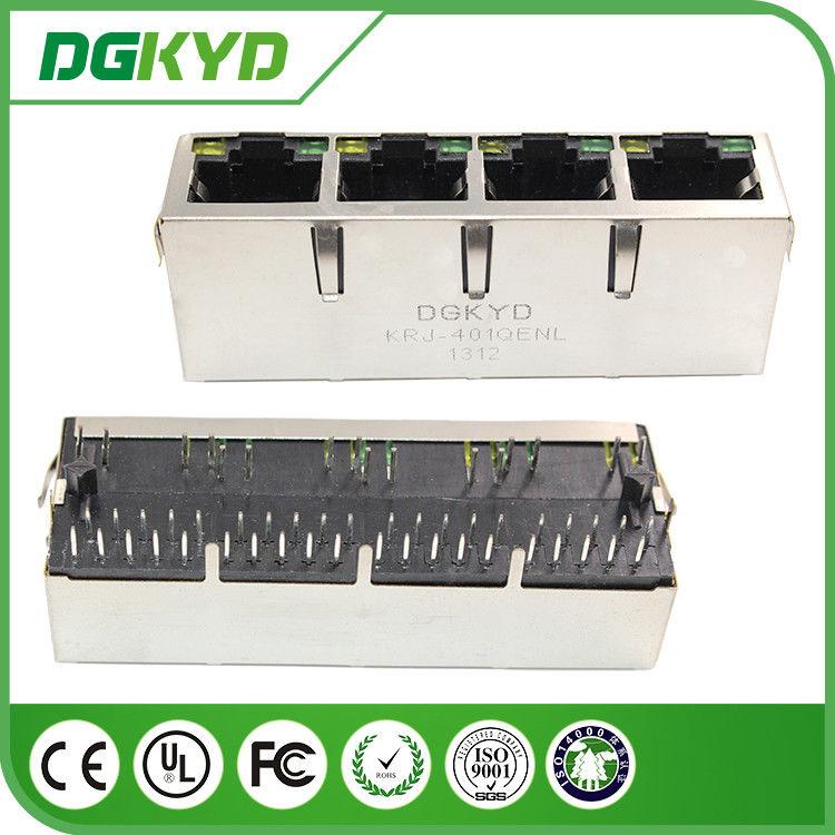 1 x 4 Port Integrated Magnetics RJ45 Ethernet Connector Gigabit ...