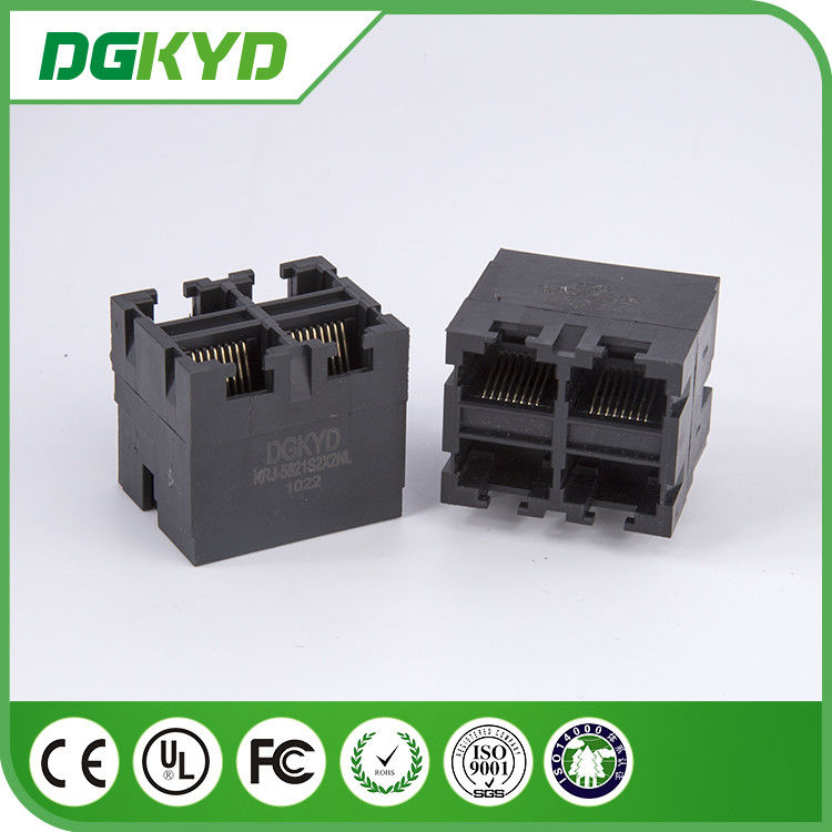 2 X 2 Multi Port Ethernet Stacked RJ45 Modular Jack for Transceiver Application supplier