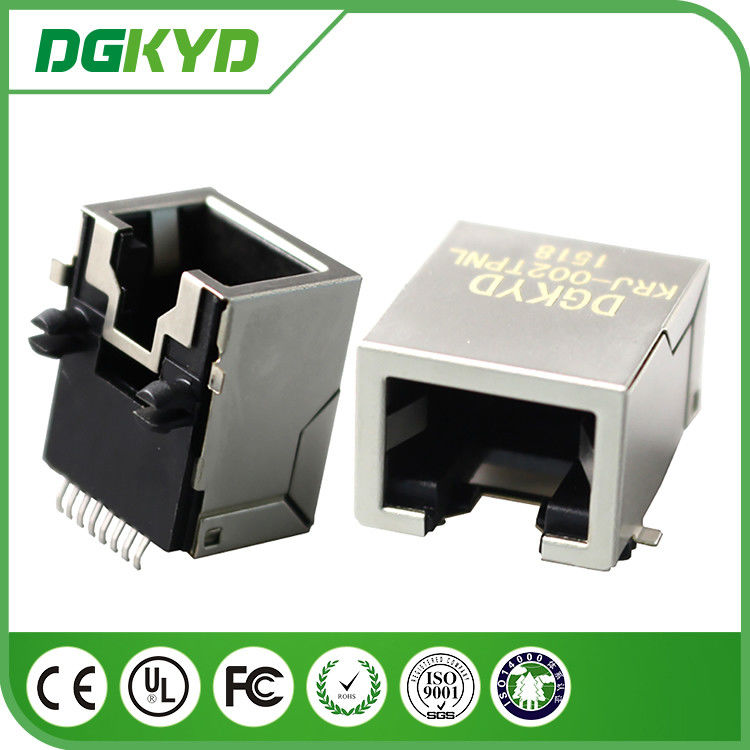 China 1x1 tab down SMD rj45 pcb connector without transformer ,gold plating 6U factory