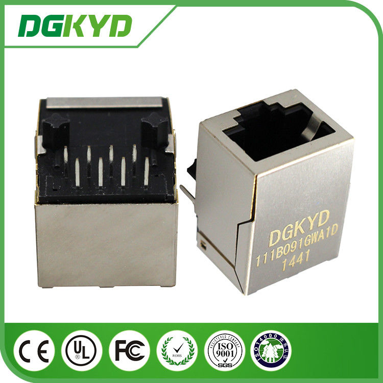 Ethernet Cat6 rj45 Female Jack Shielded Connectors with Vertical magnetics 1:1.414 supplier
