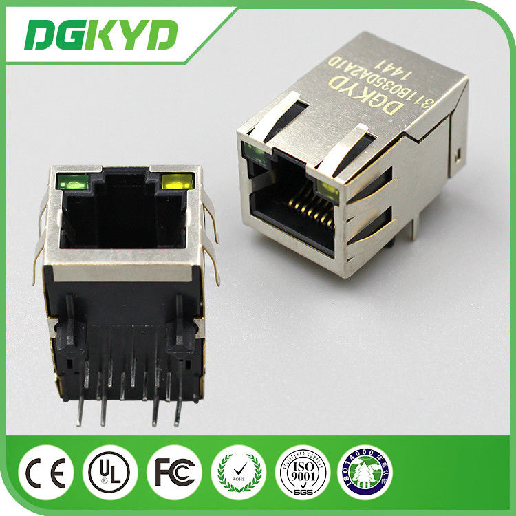 China Single Port Right Angle RJ45 PCB Connector Waterproof Network factory