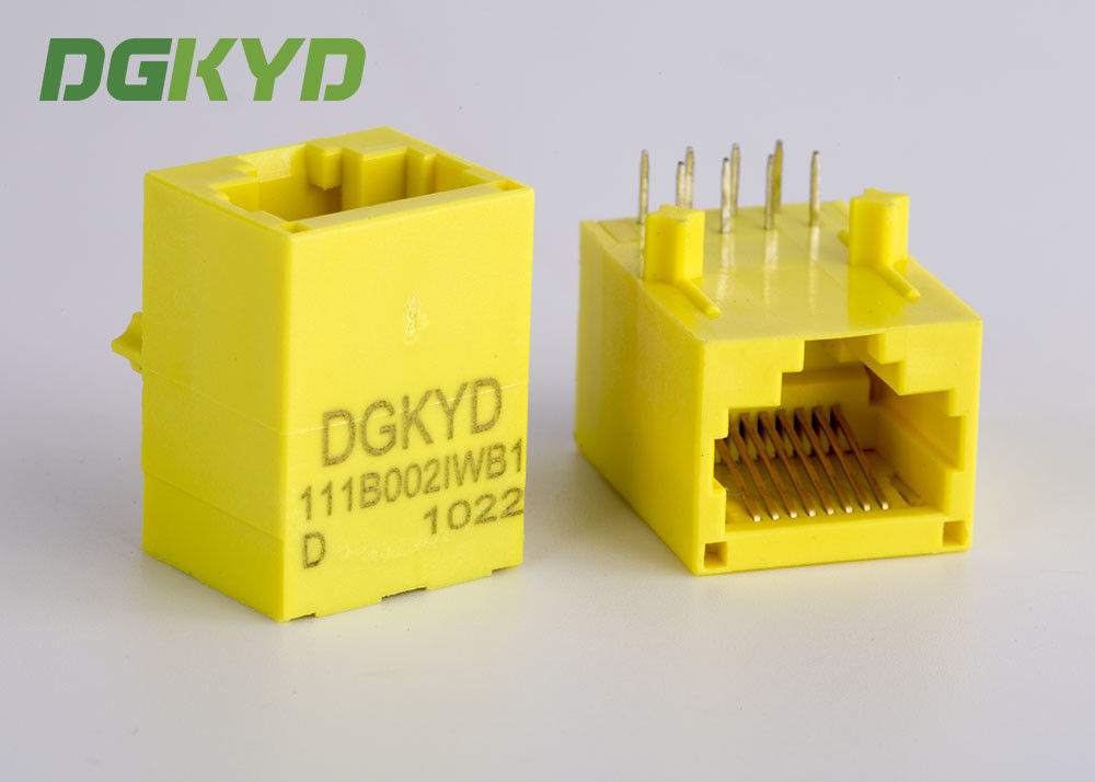 Yellow Color Unshielded Rj45 Modular Jack With Transformer , 100 Base - T supplier