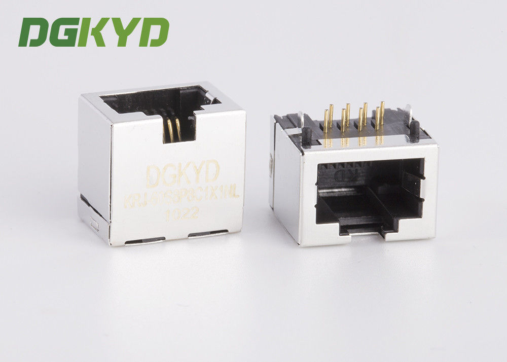 Metal Shielded Female Rj45 Ethernet Jack Connector Without Transformer , 11.5mm supplier