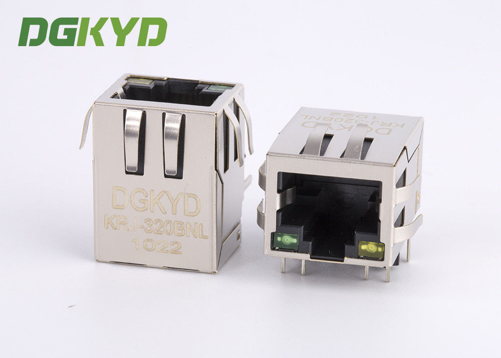 China Metal shield right angle 1000 base RJ45 modular jack with magnetic transformer factory