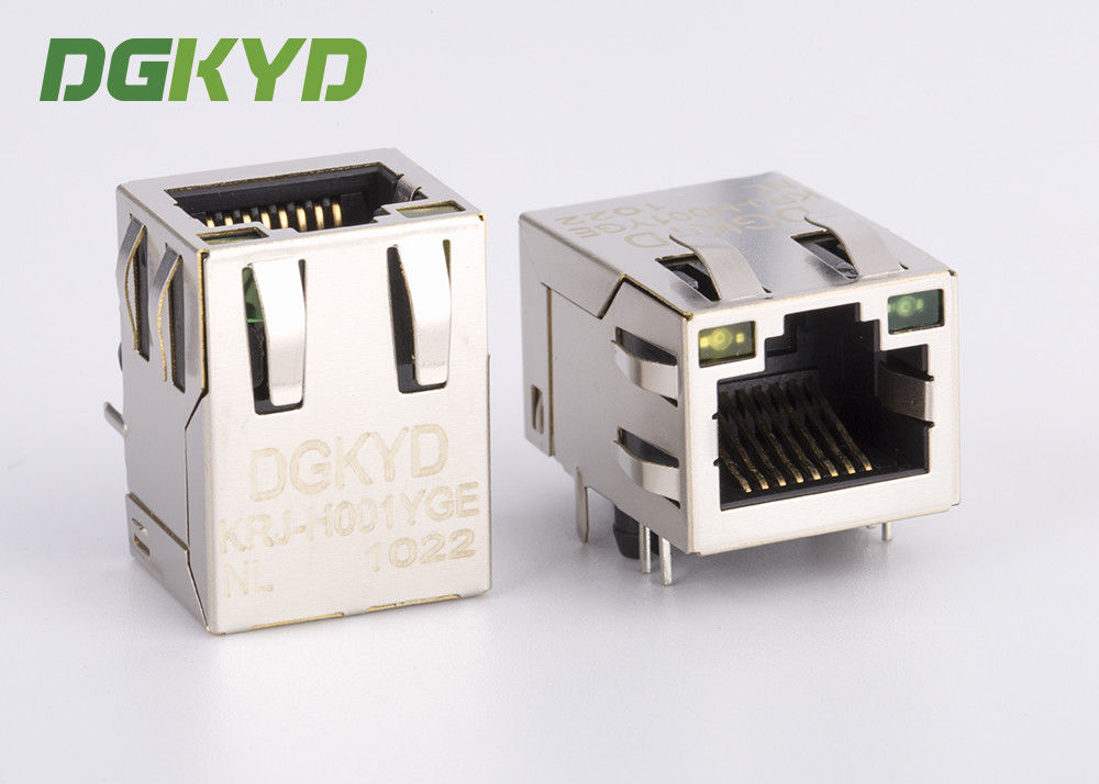 KRJ-H001YGENL single port RJ45 Magnetics jack, Side Entry 100Mb rj45 8p8c connectors supplier