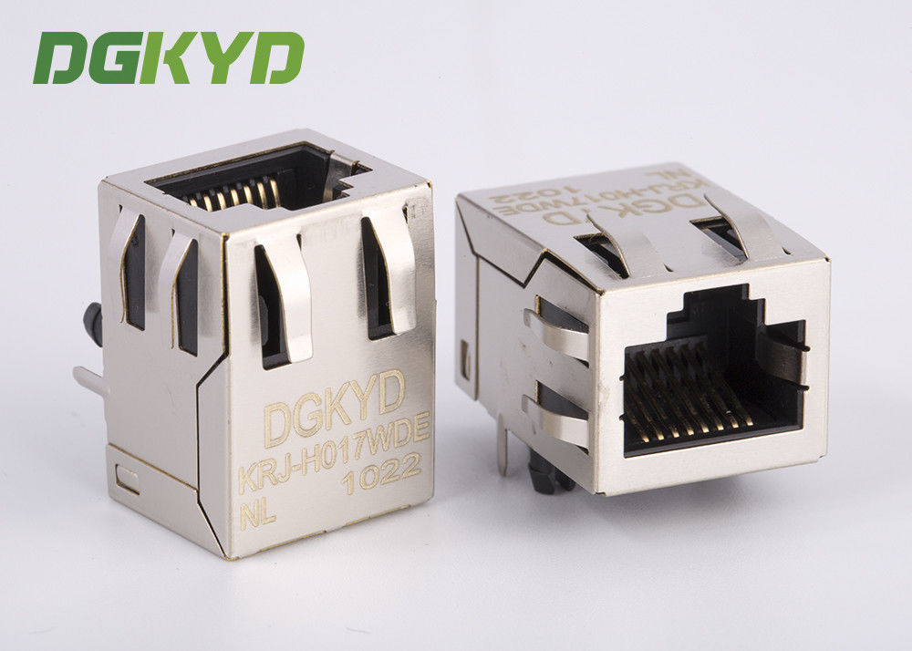 Single Port Megabit ethernet RJ45 PCB Connector , RJ45 Shielded Plug 100BASE supplier